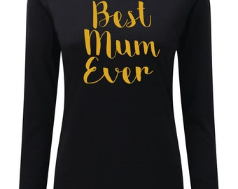 Mothers Day Long sleeve top best mum ever mummy mummin ain't easy personalised present happy Mothering Sunday gift