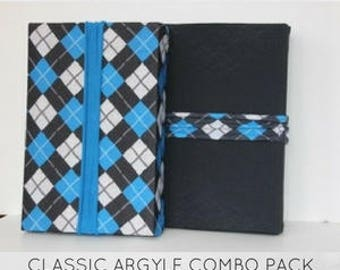 """New from """"Regift The Wrap""""...Reusable Stretch Fabric Gift Wrap- CLASSIC ARGYLE Combo Pack"""