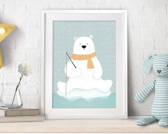 Nursery Decor, Polar Bear, Nursery Art, Nursery Bear Decor, Polar Bear Art, Nursery Teddy Bear, Baby Gift, Bear Illustration, Bear Print