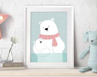 Polar Bear, Nursery Decor, Nursery Art, Nursery Bear Decor, Polar Bear Art, Nursery Teddy Bear, Baby Gift, Bear Illustration, Bear Print