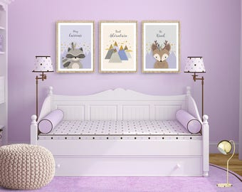 Purple nursery set, Lavender print set nursery, Lavender nursery print set of 3, Woodlands nursery, Forest friends, Deer, Raccoon, Mountains
