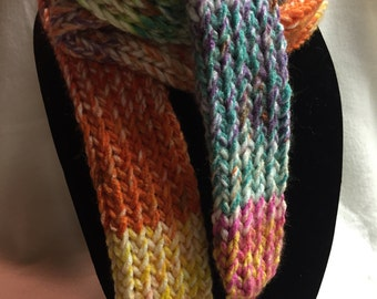 Hand-knitted Skinny Scarf (#011)