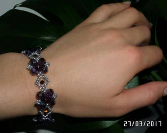 "Free shipping. ""Rhombus"" bracelet of Austrian and Czech crystals. Jewel of high quality handmade crystals."