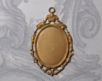 Vintage French Brass Closed Back Portrait Setting 369J