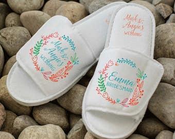 Summer wedding bridesmaid slippers, bright personalised wedding slippers, bridesmaid gifts, bridesmaid spa slippers, custom hens slippers