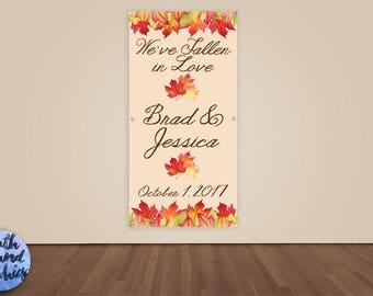 Bridal Shower Banner - Personalized Autumn Wedding Shower Photo Backdrop - Custom Wedding Banner Sign - Leaves Bridal Shower Vinyl Backdrop