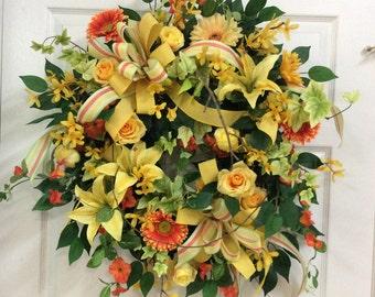 Yellow door wreath, front door summer wreath, wreaths with yellow, summer door wreath, outside wreath,garden wreath ,yellow grapevine wreath