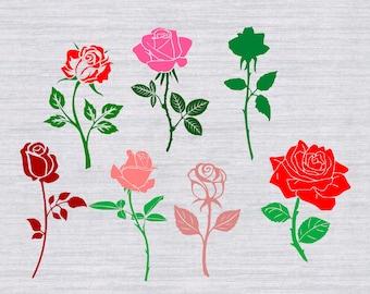 Rose SVG Bundle, Flower svg, Rose clipart, flowers svg, svg files for silhouette, cricut download, dxf, png, cut files, vinyl cutting file