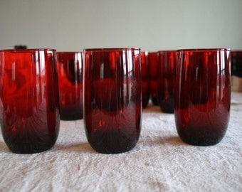 Vintage Anchor Hocking Ruby Red Glassware Set - set of 15 Tumblers and Juice Cups