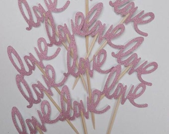"""Pink Glitter """"Love""""  Party Picks, Cupcake Toppers, Food Picks"""