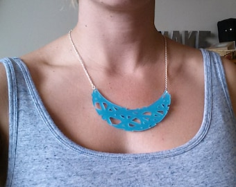 Blue acrylic laser cut necklace