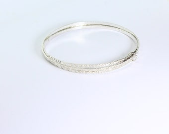 Fine Silver set of 3 connected stacking bangles