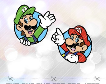 Super Mario Brothers Mario and Luigi SVG DXF Layered Cut Files Cricut Designs Silhouette Cameo Birthday Party Decoration Vinyl Tshirt Decal