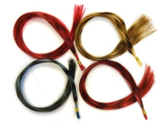 Prebonded I-Tip Extensions/100% Human Hair Feathers, Grizzly Striped - Blond, Blue, Hot Pink, or Fuchsia