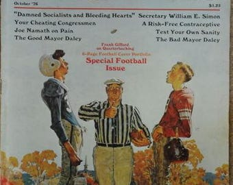 The Saturday Evening Post October 1976 Cover by Norman Rockwell ,Dammed Socialists and Bleeding Hearts