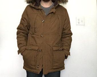 Brown Faux Fur Parka size Medium