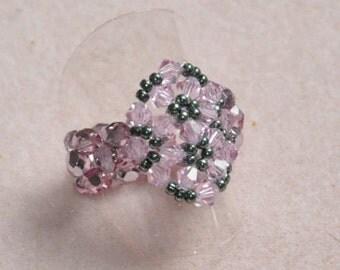 Snowflake ring pink & grey