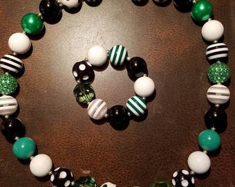 St patricks Mustach Chunky bead Necklace