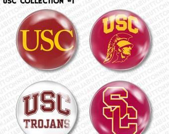 Set of 4 Mini Pins / Buttons - USC University of Southern California college university trojans