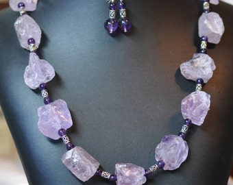 Raw Amethyst Lavender Ice Nuggets Bali silver necklace and earring set