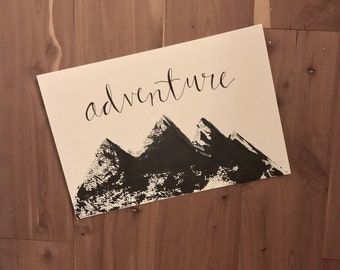 Adventure- Hand Lettering |Hand Painted | Original Painting | Acrylic| Art| Room Decor