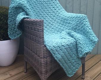 Crochet Blanket, luxury crochet throw, vegan friendly blanket, green blanket, cream blanket, blue blanket, grey blanket, afghan