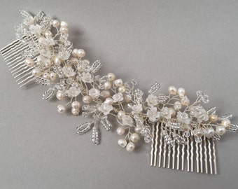 HELENA   Bridal floral inspired freshwater pearl and crystal head piece, Pearl wedding hair accessory, Ivory floral hair comb