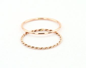 Wedding Band Set- 14k Rose Gold Wedding Band Set with Twisted Rope Ring/ Stackable Set of 1MM Thin Gold Band and Twisted Rope Ring - 2 RINGS