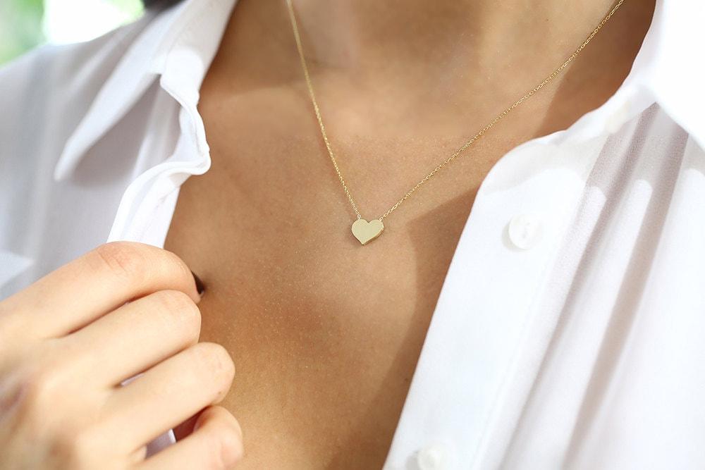 14k Gold Heart Necklace/ Heart Necklace/ Gold Necklaces/ Love Necklace/ Minimalist Heart Necklace/ Self Love Necklace/ Dainty heart Necklace