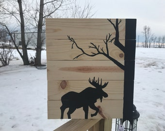 Pine Moose Wood Sign Wall Hanging Rustic Cabin Home Decor