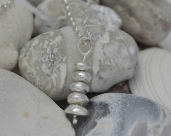 Silver Pebble Stack Pendant