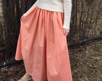 Cream cotton skirt with white polka dot