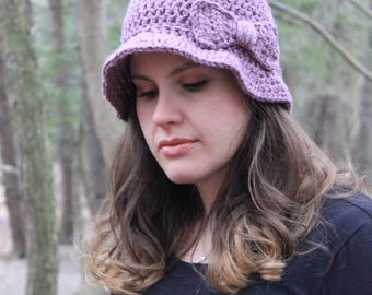Cloche Flapper Brimmed Hat with Bow