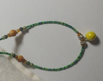 Green Necklace with Yellow Pendant