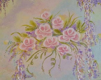 14x18 Pink Roses Bliss