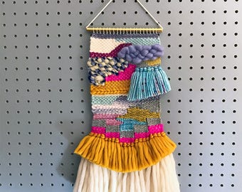 Handcrafted Weaving 6 - Woven Wall Hanging - MEDIUM SIZE (Lavender, Cream, Mustard, Blues, Pinks, Greys)