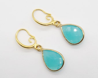 Crystal Teardrop Earrings - Opaque Turqoise