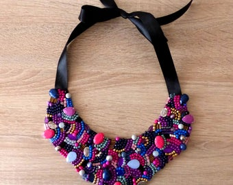 Handmade Statement Beaded Bib Necklace