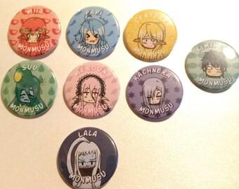 Monster Musume Pinback Button Set + Free Kimihito Pin