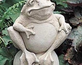 Cast Stone Garden Toad on Stone Sculpture