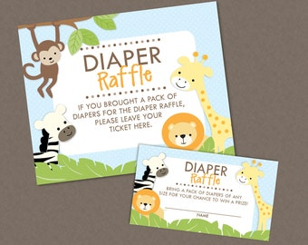 Sweet Safari Jungle Baby Shower Diaper Raffle Ticket And Diaper Raffle Sign - INSTANT DOWNLOAD - Monkey Giraffe Lion Zebra