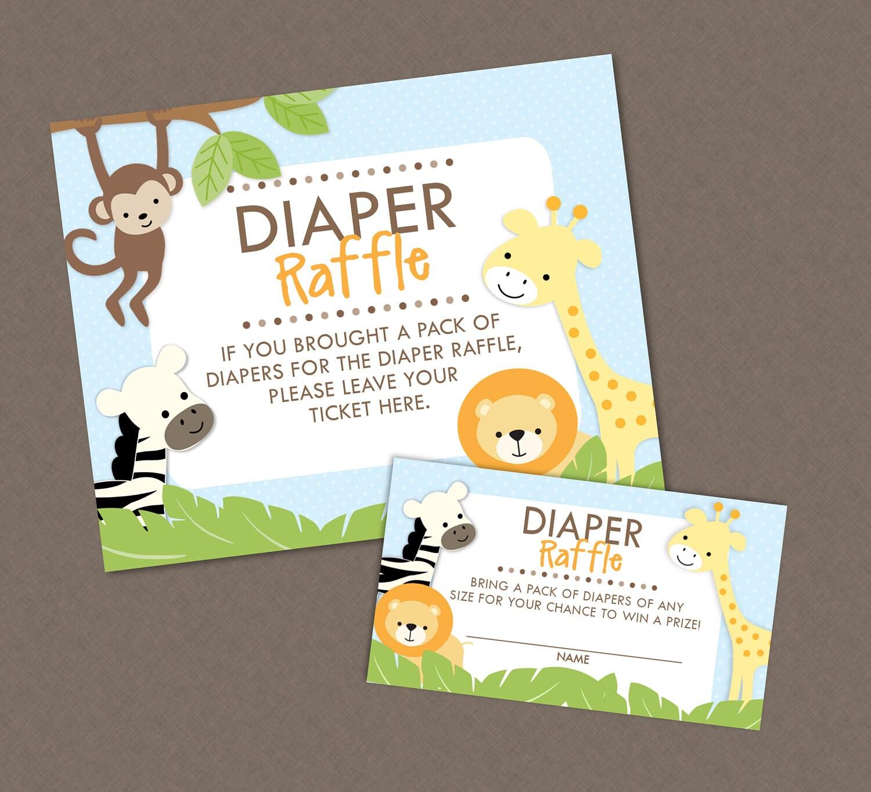 Sweet Safari Jungle Baby Shower Diaper Raffle Ticket And Diaper
