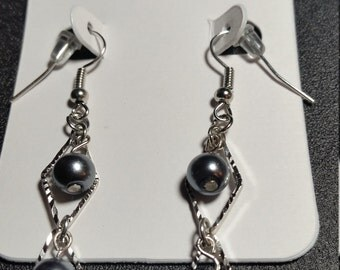 Metallic Pearl and Triangle Drop Earrings