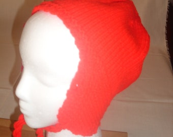 Red Knitted Ear Flap Hat