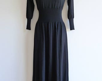 Junya Watanabe Comme des Garçons long black knit dress