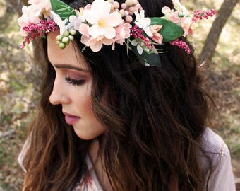 Teen/Adult Flower Crown | Made to Order | Wedding Party | Prom |  Bridesmaid | Engagement Photos | Photo Prop | Boho Hair