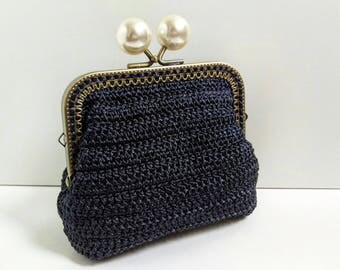 Pearl bobbles clasp purse, womens wallet, Silky shimmer elegant black kiss lock purse, clutch, gifts for her, make up pouch, bridesmaid gift