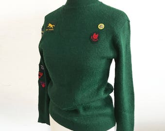 Rare! Vintage 1960s UK Boy Scout Sweater / Jumper with patches