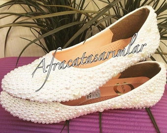Wedding Ballet Flats, Pearl Shoes, Bridal Shoes, Pearl Women Shoes, Bride Ballet Flats, Wedding Shoes, Custom Ballet Shoes, Custom Shoes,