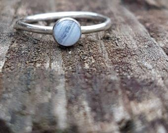 Natural Blue Lace Agate & recycled Sterling Silver ring